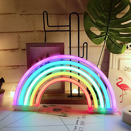 Aizesi Rainbow Neon Signs Rainbow Lights Hanging Rainbow