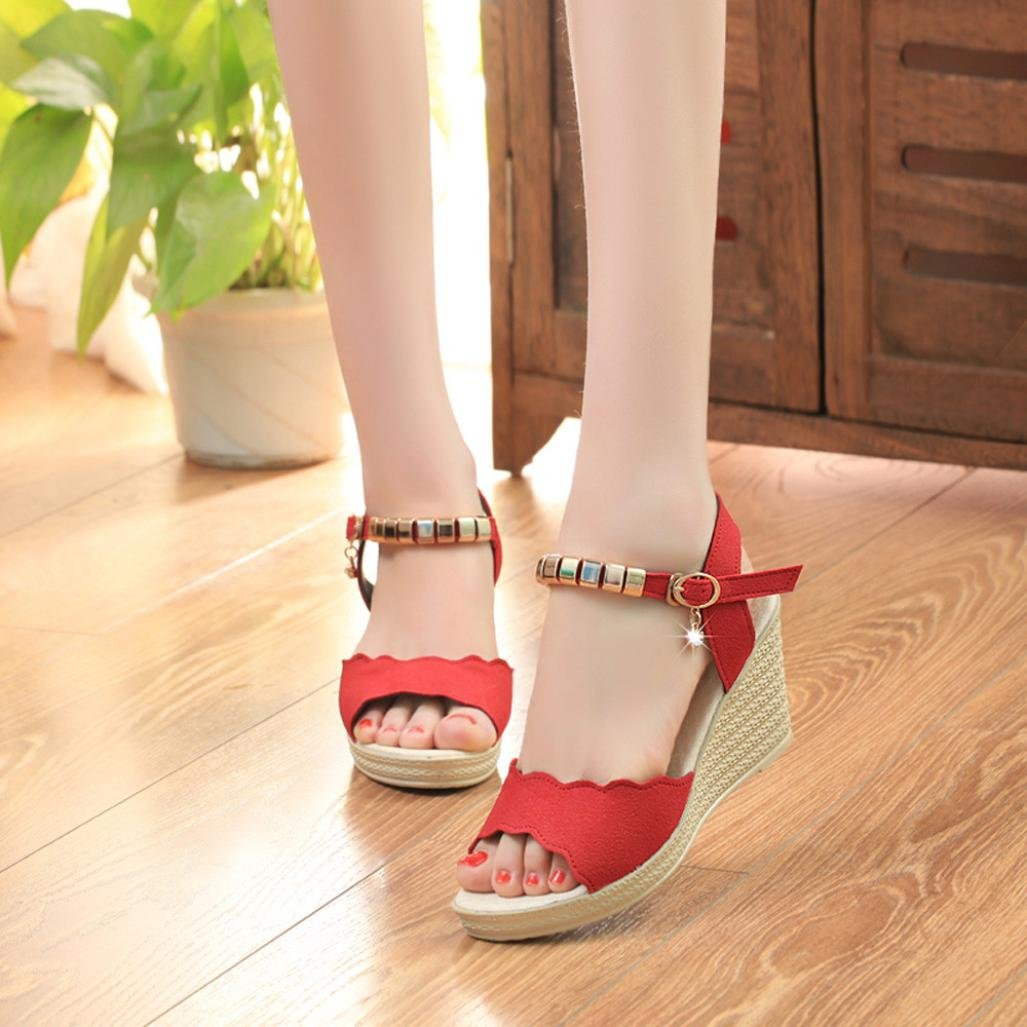 Amazon.com : Women Fish Mouth Rhinestone Platform Wedges Tie up Sandals Platform Ankle Strap Braided Sandals Shoes Duseedik Promotion : Sports & Outdoors