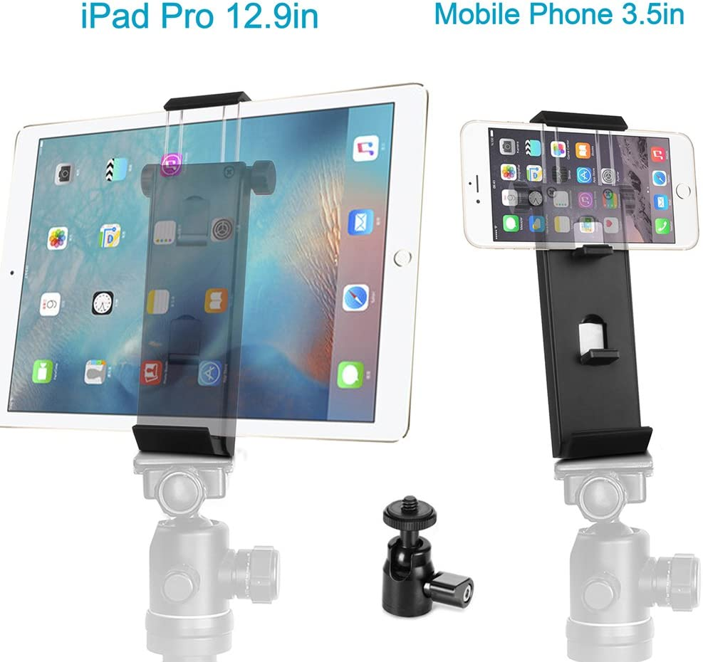 "ohCome Phone Tablet Tripod Mount Adapter | Aluminium Multi-Angle Tablet Stand Desktop Holder Dock Fits 3.5-12.9"" Inch Phones, iPad Pro/Air/Mini Tablet & Tripod Ball Head for Amazon Monopod/Tripod"