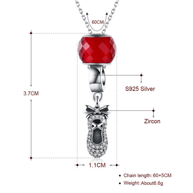 MMC Womens Necklaces Pendants Female Bow Zircon Shoes Silver Jewelry