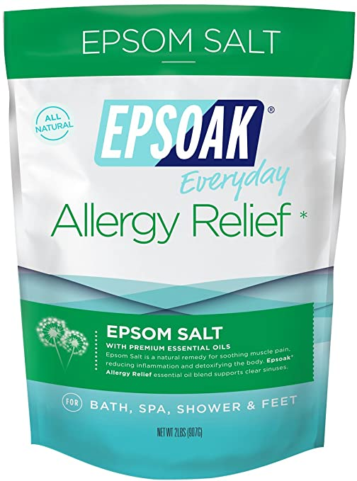 Epsoak Epsom Salt | 2 lbs. Allergy Relief Bath Salts - For Bath, Spa, Shower & Feet (Everyday Epsom Salts) Best Natural Allergy Remedies