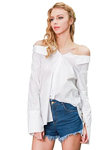 Simplee Apparel Women's Casual Off Shoulder Turn Down Collar Button Shirt Blouse Top