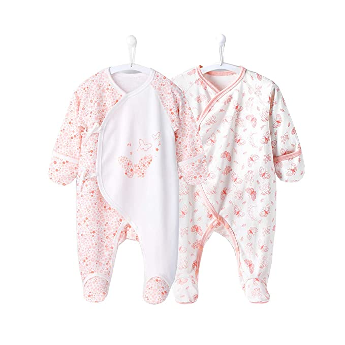 Amazon.com: COBROO pijama para bebé con manoplas integradas ...