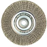 6'' Crimped Wire Wheel Brush, Arbor Hole Mounting, 0.012'' Wire Dia, 1-1/4'' Bristle Trim Length, 1 EA - pack of 5