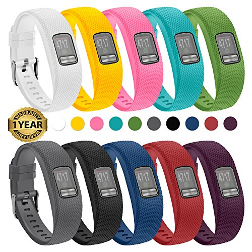 Gymu Garmin vivofit 4 Bands, Replacement Wristbands with Secure Metal Buckle Clasp for Garmin vivofit 4 Activity Tracker (10 Pack, Large)