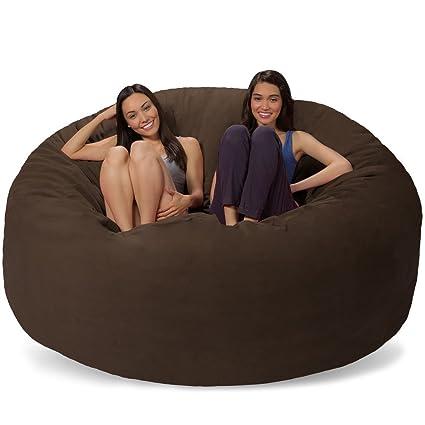 Merveilleux Comfy Sacks 7 Ft Memory Foam Bean Bag Chair, Dark Chocolate Pebble