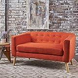 Bron Yr Aur Button Back Mid Century Fabric Modern Loveseat (Muted Orange)