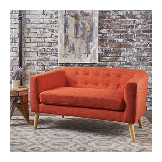 "Bron Yr AUR Button Back Mid Century Fabric Modern Loveseat (Muted Orange) - This loveseat is a great addition for any room in your home, not only just the living room. Featuring a mid-century design with modern angles, this loveseat is both comfortable and stylish. Enjoy it in your home today. Includes: One (1) Loveseat Dimensions: 29.50""D x 51.50""W x 28.25""H - sofas-couches, living-room-furniture, living-room - 61ALgJ4VQ7L. SS570  -"
