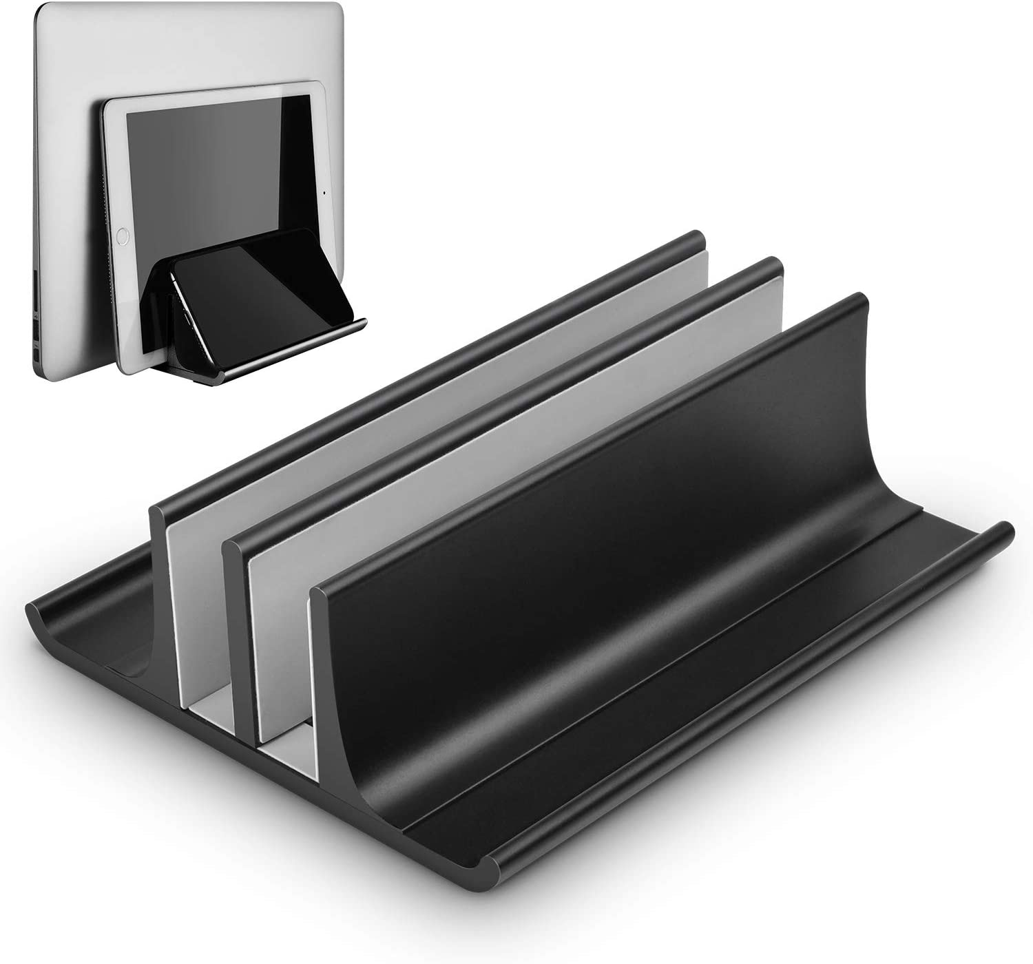 Vertical Laptop Stand, Double Desktop Stand Holder with Adjustable Dock (Up to 17.3 inch), Aluminum Notebook Holder Compatible for MacBook Pro/Air, Surface Laptop, Dell, HP, Samsung, Lenovo,Black