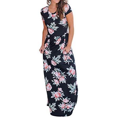 96a9b78915 Yonlanclot Ladies Sexy Maxi Dress Cold Shoulder Floral Short Sleeve Summer  Beach Long Dresses with Pockets for Women (S, Black): Amazon.co.uk: Kitchen  & ...
