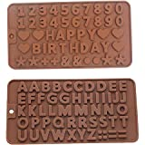 2PC Silicone Happy Birthday Fondant Mold Number Birth Date Cake Alphabet Chocolate Mould Baking Mould