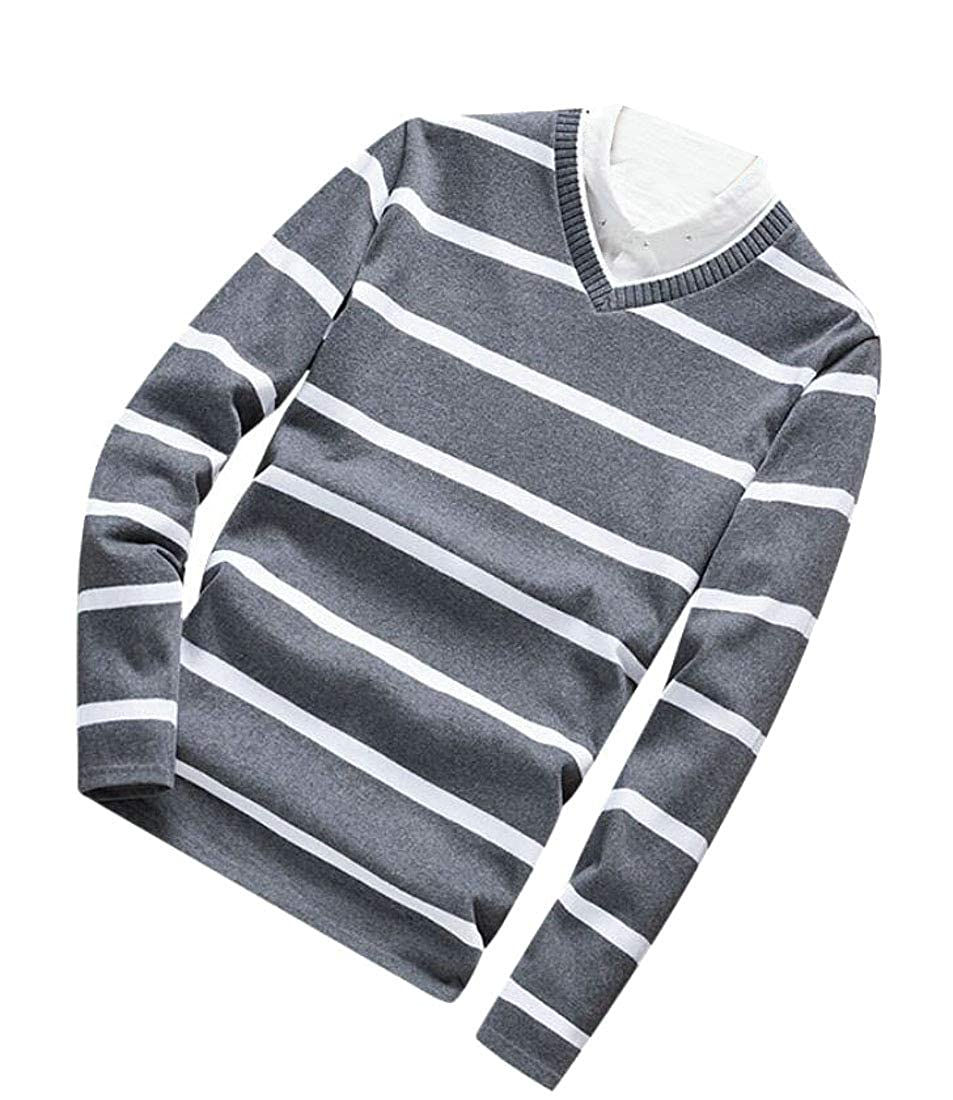 Rrive Mens Knit Long Sleeve V Neck Striped Basic Pullover Sweater