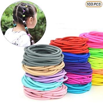 Hisight 100pcs Multi-color Girls Hair Elastics Hair Ties No Crease Ponytail  Holders No Metal 6d85ac19651