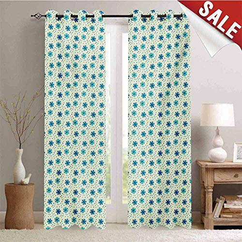- Hengshu Ivory and Blue Waterproof Window Curtain Nostalgic Doodle Dotted Background Nature Growth Arrangement Room Darkening Wide Curtains W72 x L108 Inch Blue Turquoise and Ivory