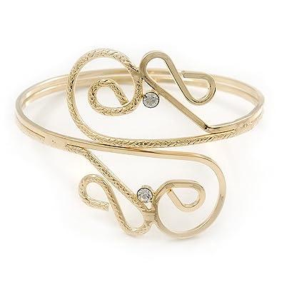 Avalaya Silver Plated Textured 'Twirls' Diamante Armlet Bangle - Adjustable UB6bn