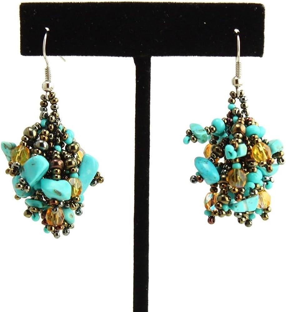 Turquoise Glass /& Stone Bead Earrings