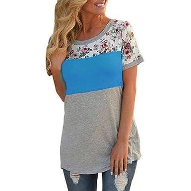 76e23e59fe Goddessvan Women Summer Casual Floral Print T-Shirt Short Sleeve Colorblock  Blouse Tops (S