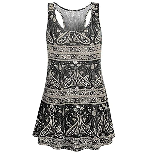 46fb8c71944789 vermers Womens Printed Tank Tops Casual Maxi O-Neck Sleeveless Flare T Shirts  Vest Tunic Blouse Fashion Tanks Dresses at Amazon Women s Clothing store