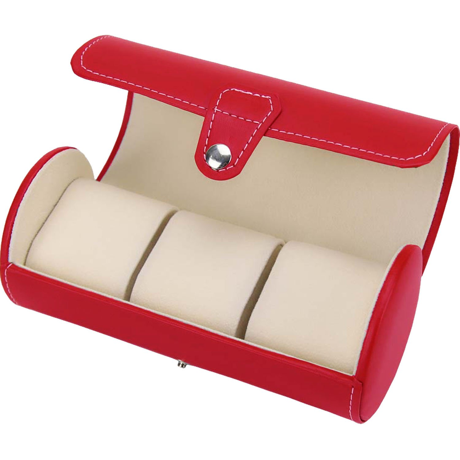 NEW Gift PU Leather 3-slot Watch Travel Storage Case Bag Watch Box (Red)