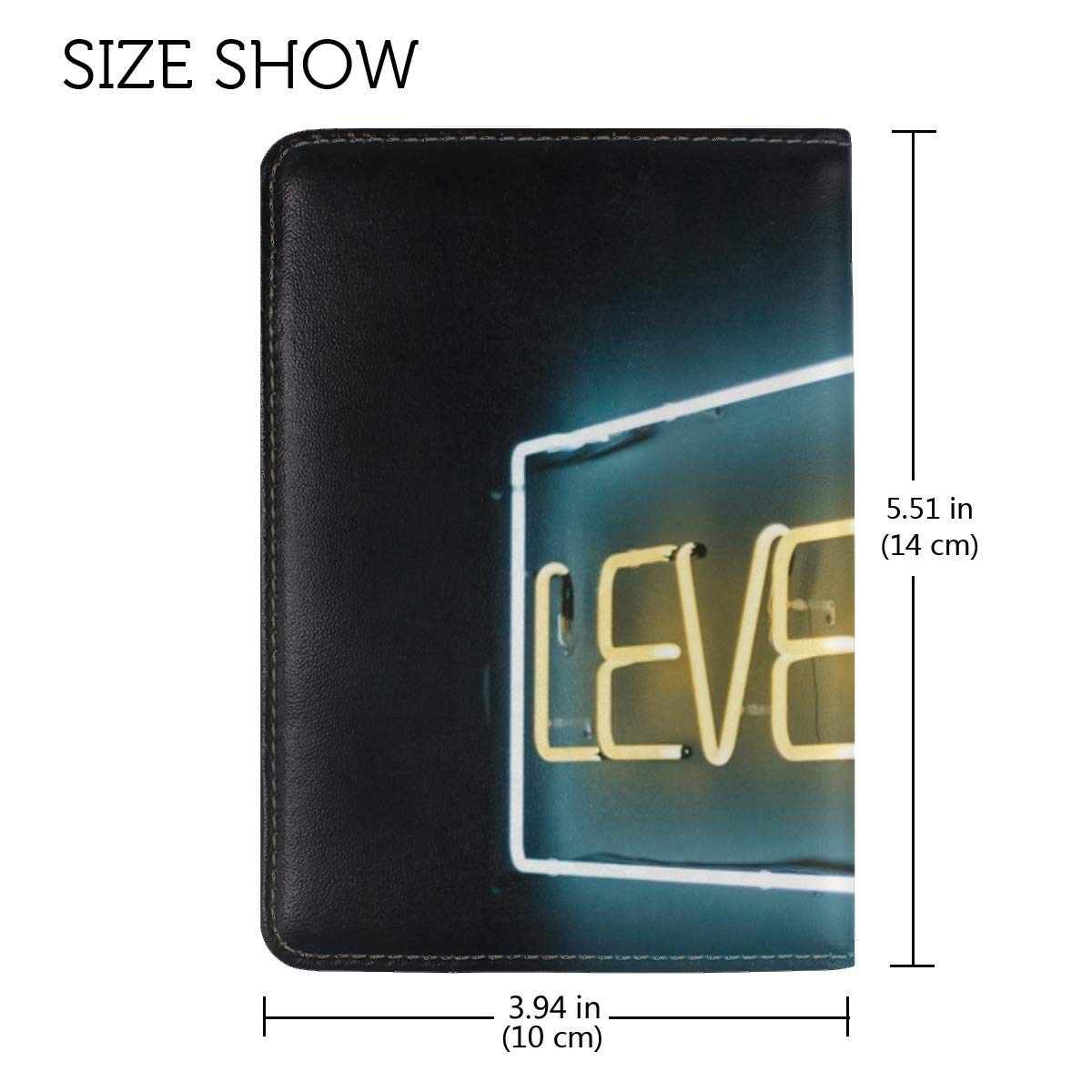 Neon Text Sign Leather Passport Holder Cover Case Travel One Pocket