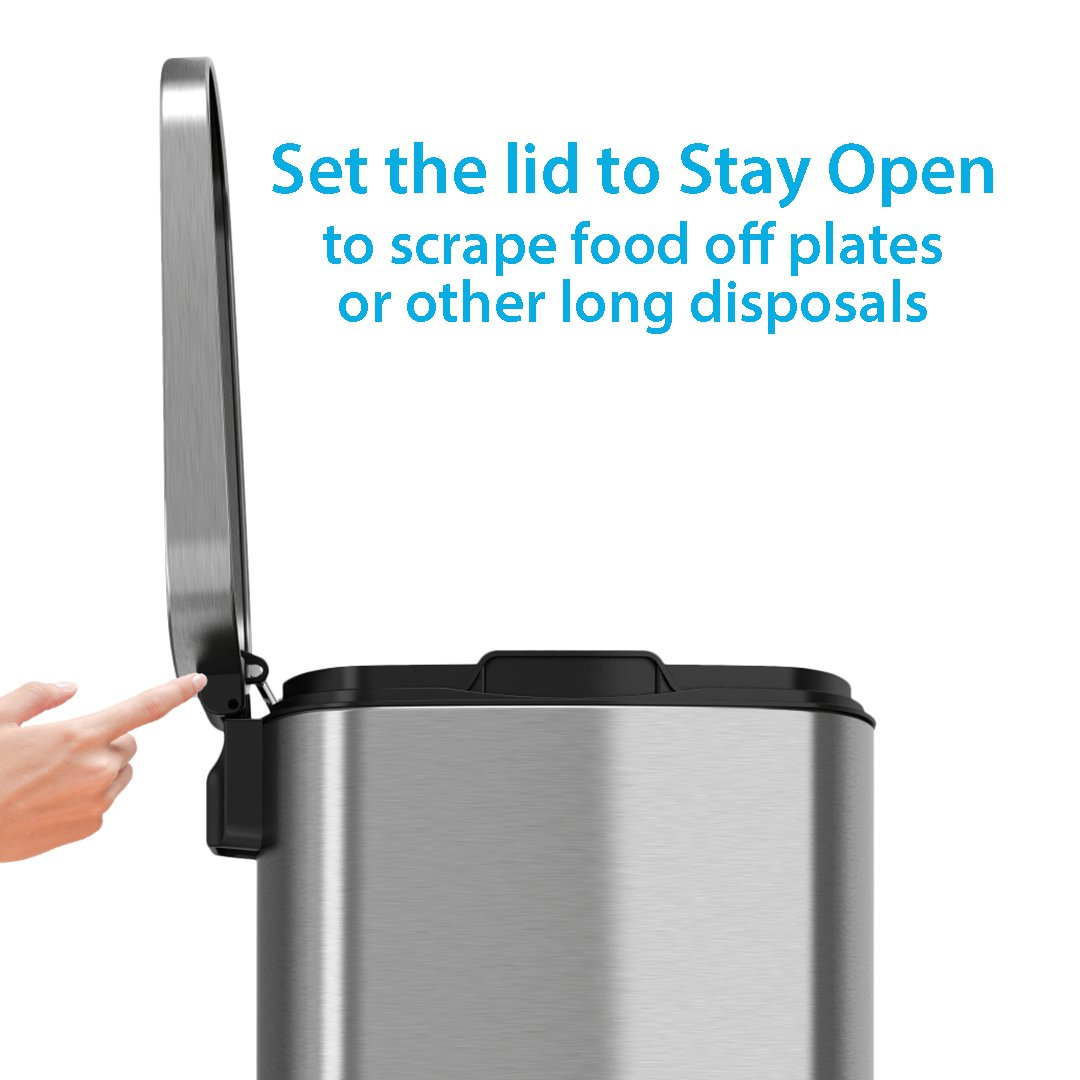iTouchless SoftStep 8 Gallon Stainless Steel Step Trash Can, 30 Liter Pedal Kitchen Trash Can Perfect for Office, Home and Kitchen by iTouchless (Image #3)