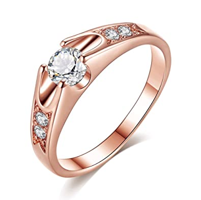 c34feab7e AllRing Rings Golden Diamond Ring Wedding Jewelry Gift Birthday for Women  Girls Ladies: Amazon.co.uk: Jewellery