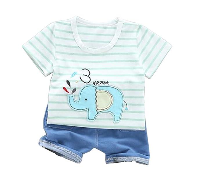 54394c0ea244 JIANLANPTT Toddler Kids Boys 2 Piece Short Sleeve Stripe Tshirt and Blue  Shorts Set Outfits Green