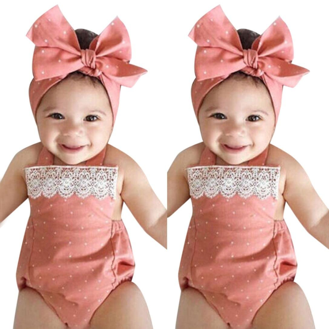 CHshe 2Pcs Newborns Baby Girl Princess Dots Print Lace Summer Romper Jumpsuit + CInfant Headband Clothes Party Outfits Clothes Set for 0-18 Months Pink