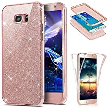 Galaxy S6 Edge Case,LEECOCO 360 Degree All-round Protective Case Bling Glitter Sparkly Anti Scratch Soft Transparent TPU Case Cover for Samsung Galaxy S6 Edge - Full Glitter Rose Gold