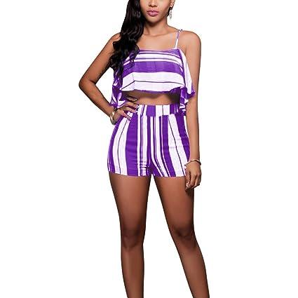8c97db58d3fd2 Dreamyth-sets 2pcs Women s Summer Casual Crop Tops Ruffle Blouse Stripe Pants  Slim Sling Set