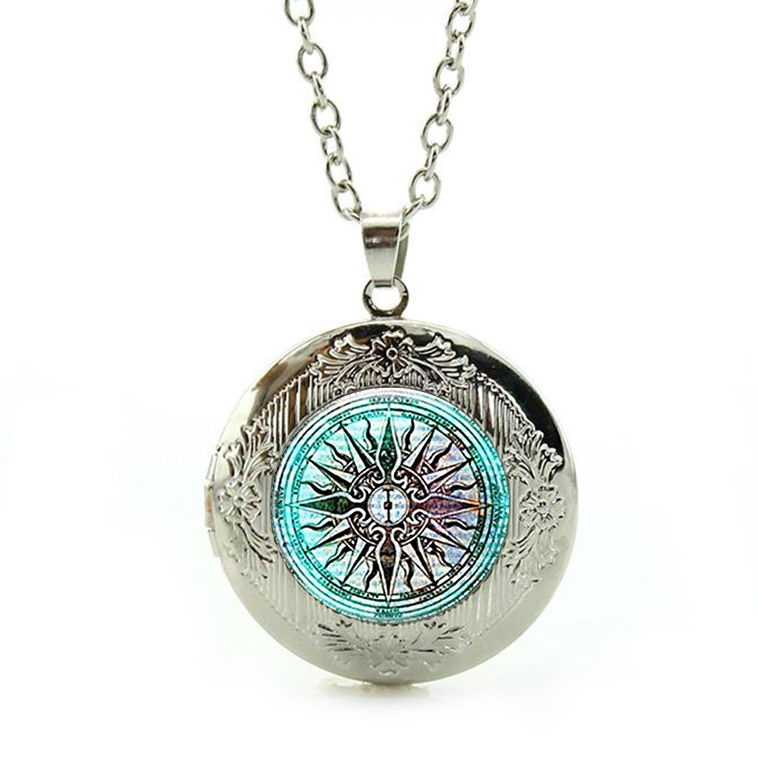Women's Custom Locket Closure Pendant Necklace Compass Rose Nautical Windrose Rose of The Winds Included Free Silver Chain, Best Gift Set