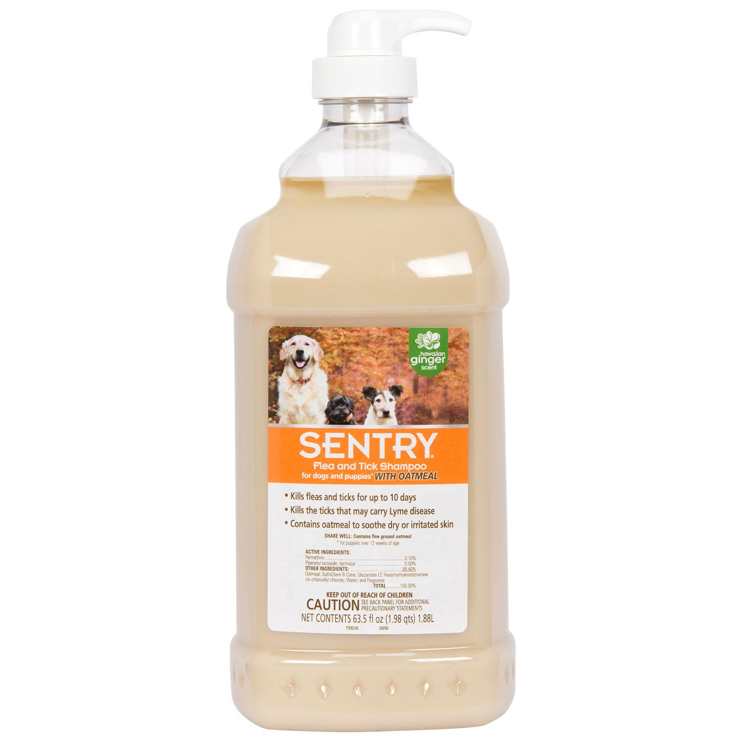 SENTRY Oatmeal Flea and Tick Shampoo for Dogs, Rid Your Dog of Fleas, Ticks, and Other Pests, Hawaii Ginger Scent, 63.5 oz by SENTRY Pet Care