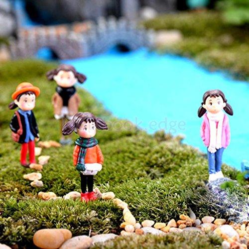 5pcs pink coat girls Set of Miniature Human People Garden Terrarium Figurine Bonsai Dollhouse Decor (Miniature People For Terrariums)