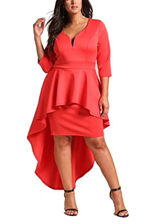 Deb Shops Debshops Womens Plus Size Peplum Hi-Lo Bodycon Dress 1XL Coral