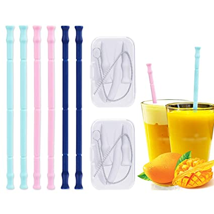 5f10f8369a8 Amazon.com: Reusable Silicone Straws Drinking Smoothie Straw for Bubba Yeti  Tumbler Cup, 8 BPA Free Long Non Disposable Straws with Cleaning Brush, ...