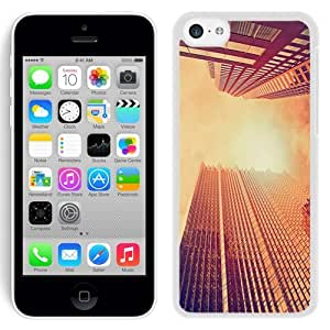 Fashionable Custom Designed iPhone 5C Phone Case With Look Up Skyscrapers Sunset_White Phone Case