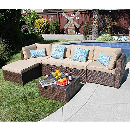 SUNSITT Outdoor Sectional 6 Piece Patio Furniture Set, All Weather Brown Wicker Sofa Set with Ottoman & Washable Cushions (Beige) (And Brown Beige Sofa)