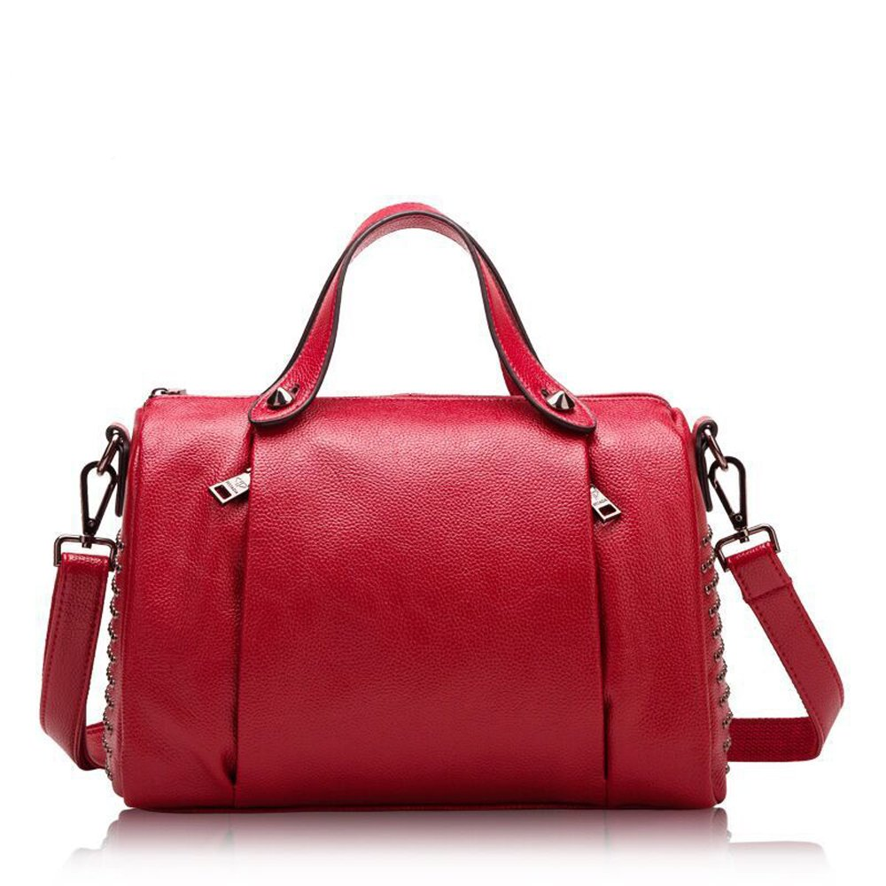 Mn&Sue Women's Doctor Style Rivet Studded Genuine Leather Top Handle Barrel Lady Purse Boston Satchel bag (Red)
