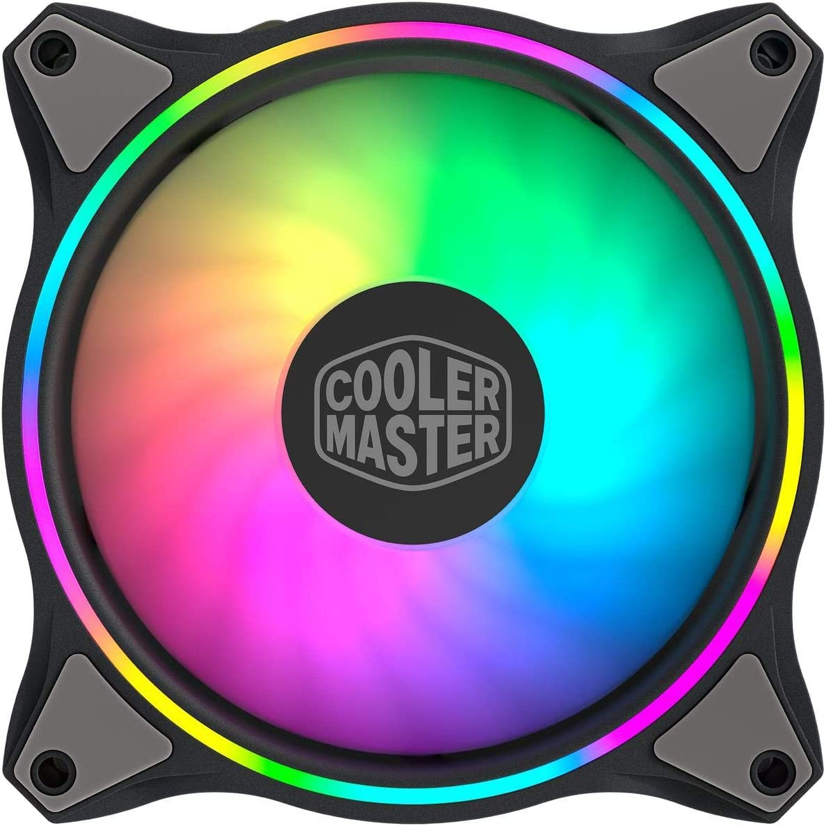 Cooler Master MasterFan MF120 Halo Duo-Ring Addressable RGB Lighting 120mm Fan, Absorbing Rubber Pads, PWM Static Pressure for 5V ARGB Computer Case & Liquid(MF120 Halo)
