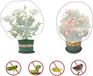 Sirozi 4 Pack Plant Bird Barrier Net Mesh with Drawstring, 3.5Ftx2.3Ft Plant Protective Cover Garden Flower Screen Barrier Bag for Vegetables Fruits Flower from Bird Eating
