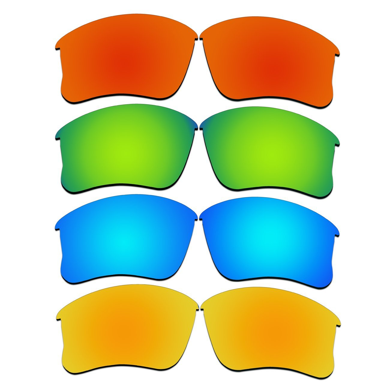 4 Pair Replacement Lenses for Oakley Flak Jacket XLJ Sunglasses With Polarized Pack P47