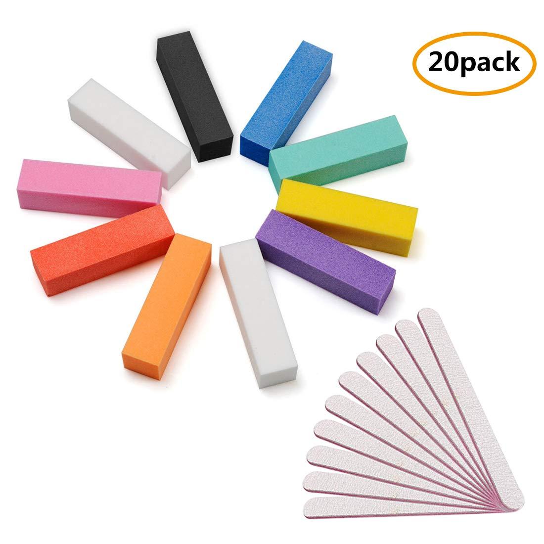 Nail Files Buffers, 20Pcs Professional Nail Buffer Blocks File Polisher Assorted Colors, Nail Files 10pcs + Buffers 10pcs, 100/180 Grit