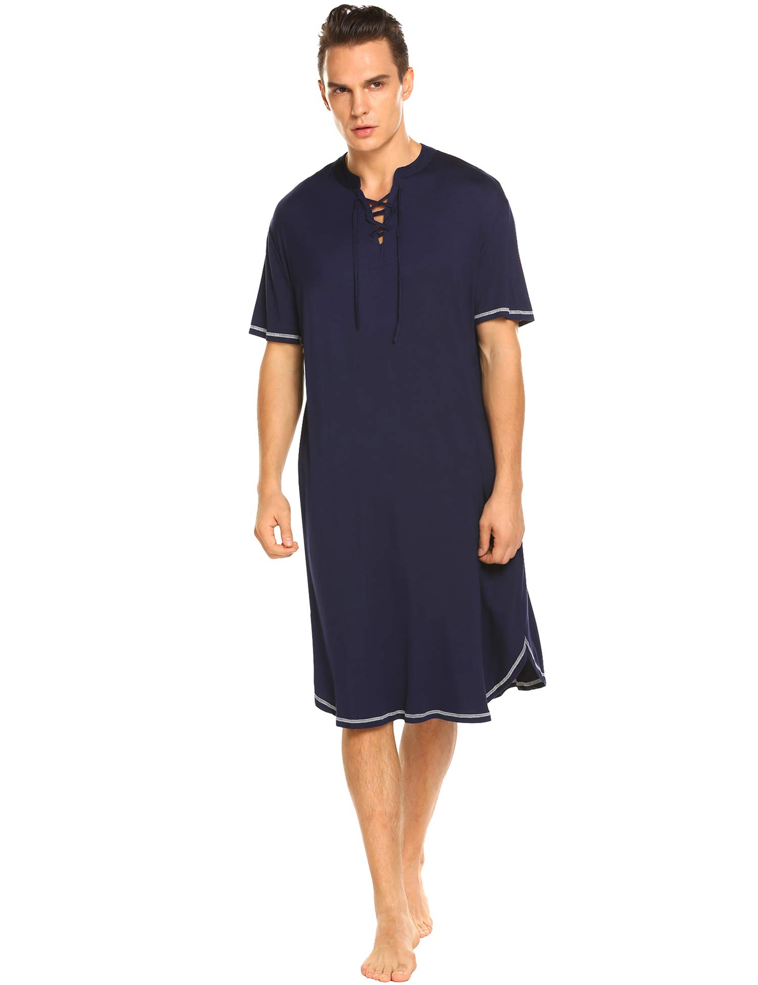 Daupanzees Men's Nightshirts Kaftan Night Shirt Short Sleeve Sleepwear Henley Sleep Shirt (Navy Blue L)