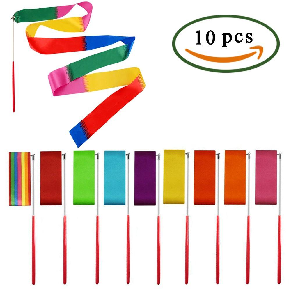 MIHOUNION 10 Pcs 2 Metri Ginnastica ritmica Danza Nastri Nastro ginnastica ritmica Diversi colori Nastro palestra con bastoni Nastro per danza Twirling Nastri per bambini Art Dance Fai da te MI3348976J
