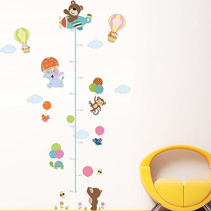 Enfants B/éb/é Chambre P/épini/ère DIY D/écoratif Adh/ésif Stickers Mural Wallpark Dessin anim/é Girafe sur Avion Croissance Hauteur Toise Amovible Stickers Muraux Autocollants