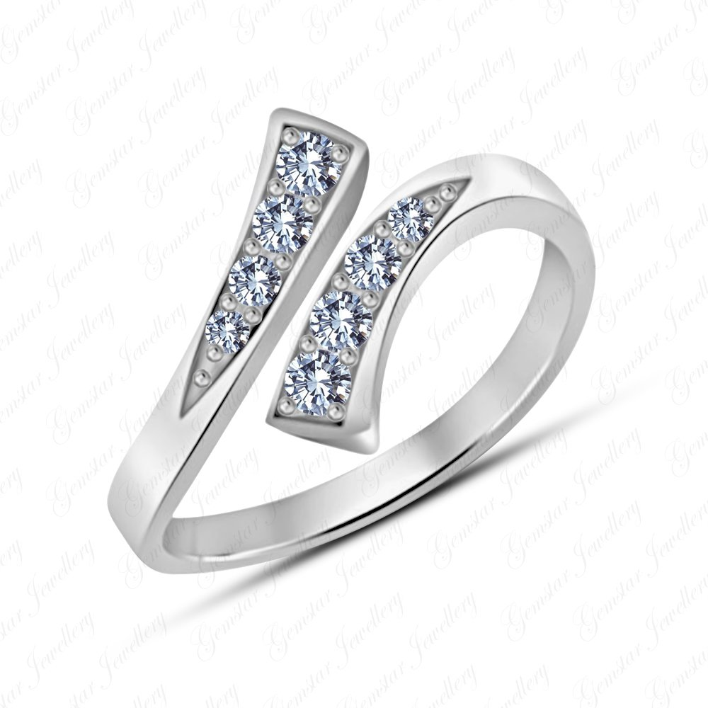 Gemstar Jewellery 14K White Gold Plated Round Shape White Simulated Diamond Bypass Fancy Toe Ring GTWW_0001_WD