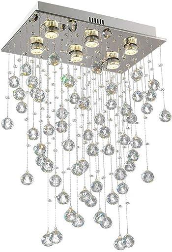 HAIXIANG Modern Rectangular Crystal Chandelier 6-Light Wave Raindrop Pendent Flush Mount Ceiling Light Fixture