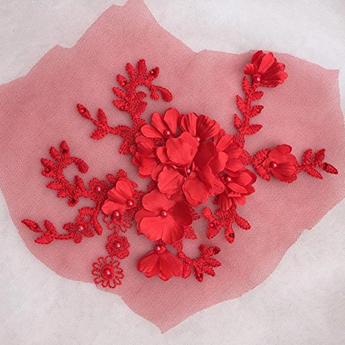 3D Flower Wedding lace Applique Beading Fabric Motif Sewing Embroidery Patch Sew on Ballgown Floor-Length Bridal veils Red Color