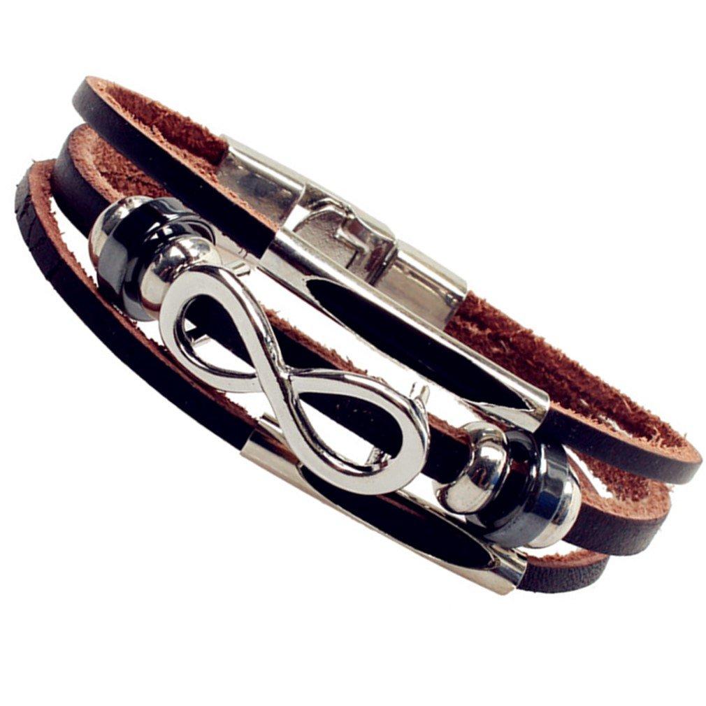 SWEETIE 8 Infinity Brown Braided Mens Leather Bracelet Hook Clasps 7.5''