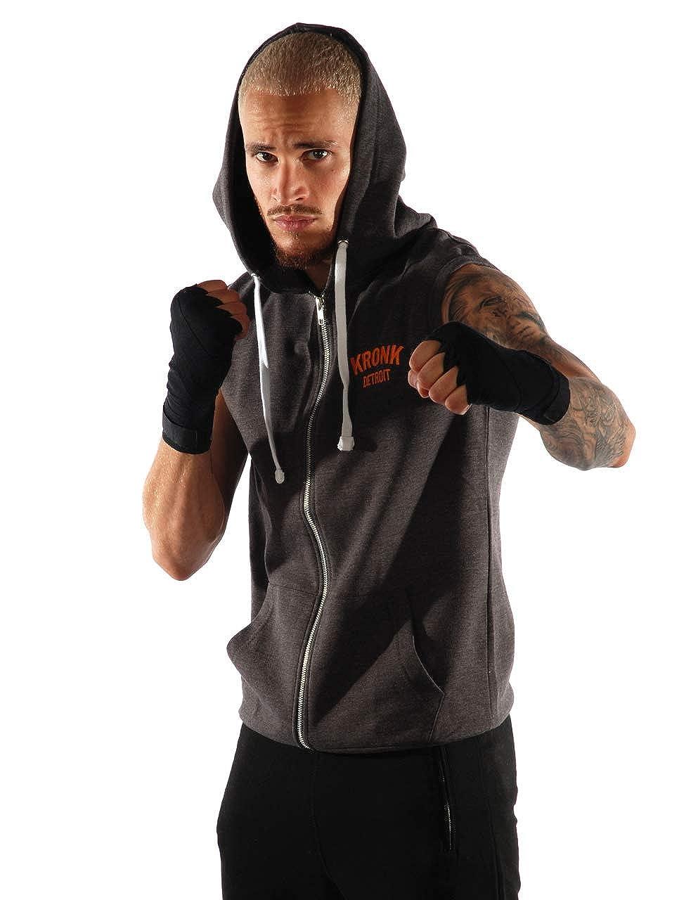 Kronk Mens Sleeveless Gym Detroit Zip Hoodie